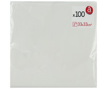 Servilletas de papel desechables color blanco 33 x 33 cm  doble capa ACTUEL 100 uds.