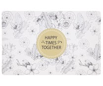 "Mantel individual 43x28cm., diseño ""happy times together"", Renova QUID."