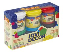 6 botes de 55mm de pinturas plástica multisuperficie con base de latex de varios colores JOVI.