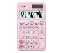 Calculadora de bolsillo de color rosa, CASIO.